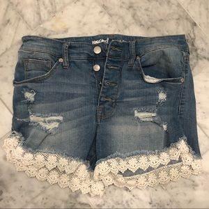 Distressed High Rise Jean Shorts